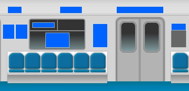 Схема расположения рекламы в вагонах